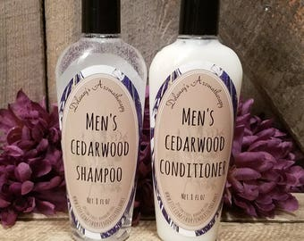 Men's Cedarwood Shampoo & Conditioner,  Shampoo,  Conditioner,  Men's Shampoo,  Men's Conditioner, Cedar wood, 8 oz, Set or separate