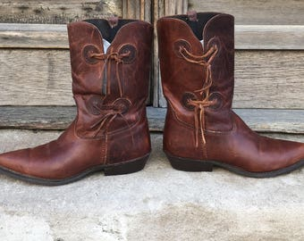 Vintage 80s Never Worn Brown Leather Boots  low heels  size 7.5M