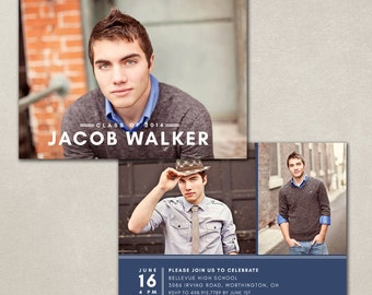 Graduation Announcement Template - Photoshop photo card template - INSTANT DOWNLOAD - Simple Grad CG041