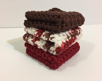 Chocolate Cherries Cotton Washcloths - Set of 3