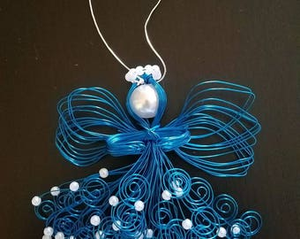 Blue Handmade Wire Angel Ornament, Christmas Ornament, In memory of, Guardian Angel