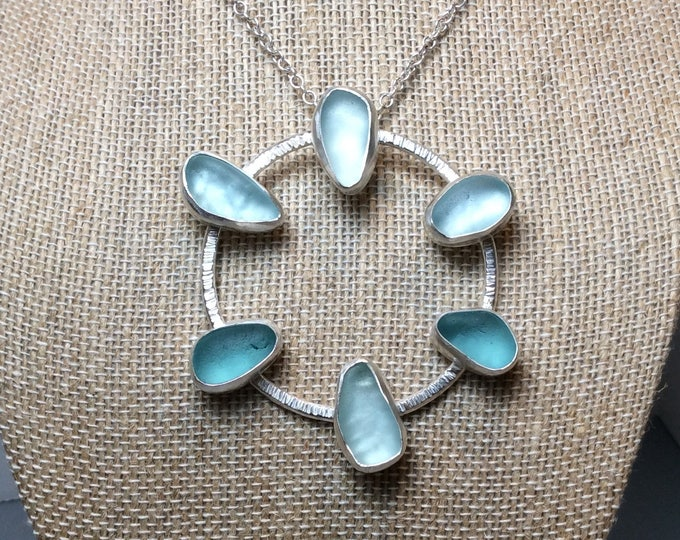 Sterling Silver and Seaglass Wheel Necklace