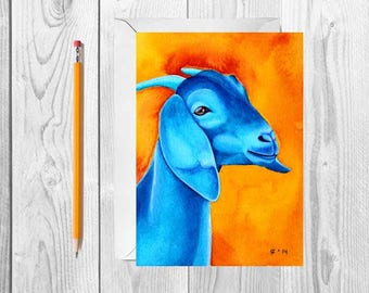 Blue Goat Card Watercolor Card Nubian Goat Art Blank Greeting Card Thank You Card Farm Animal Card Fine Art Card Watercolor Goat