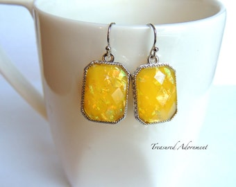 Opal in the Sunlight Earrings, Rectangle, Yellow Earrings, winter Earrings, Bridesmaid earrings, Birthday gift, Thank you gift, Teacher gift