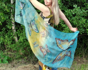 Silk scarf.hand painted scarves Batik Hand painted Silk scarf  on chiffon  with  butterflies.100% silk.  Made to order.