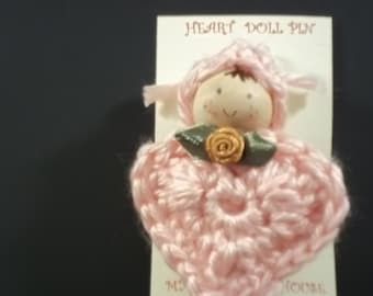 Heart Doll Pin - Pale Pink - FREE SHIPPING