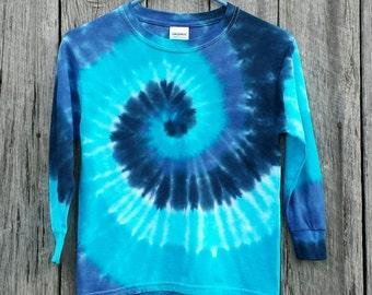 Adult Plus Size Blue Tie Dye Spiral Long Sleeve Shirt,  Adult Unisex Sizes XXL 3XL 4XL 5XL, Men's Tie Dye, Women's Tie Dye, Hippie Top