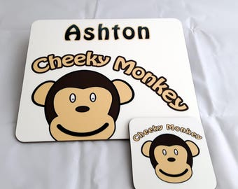 2 Piece Table Set, Personalized Cheeky Monkey Placemat, Kid's placemat, Child's name placemat, Birthday gift, Kid's placemat & coaster set