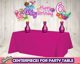 SHOPKINS CENTERPIECES (personalized)- Shopkins printable .Shopkins birthday party.Shopkins labels. Shopkins buffet. Shopkins decoration