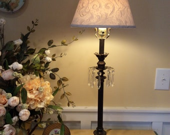 Vintage Buffet Lamp with Crystal Prisms Bronze