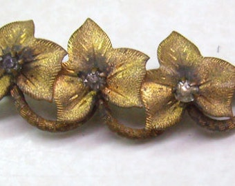 "Antique Edwardian Brass Flower Brooch...Signed  ""C. T.""...Brass Flowers Curved On Twig...Circa 1930s"