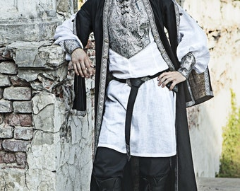 In Stock! Fixed Sizes! Ready to Ship! Mens Medieval Surcoat; mens overcoat; hanging sleeve garb; mens medieval garb