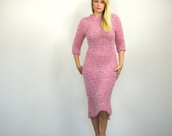 Soft Pink Midi Dress with High Collar