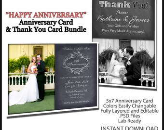 2017 Anniversary Wedding Invitation 5x7 Flat Card Photoshop Template. Includes Thank You Card Template. Great for Anniversaries. B&W Color.