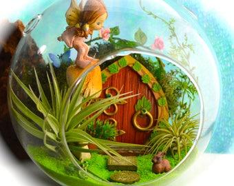 "Fairy Garden Terrarium Kit ~ 8"" Air Plant Terrarium Kits ~ Fairy Garden Kit ~ Fairy Door ~ Fairy on a Mushroom ~ Rabbit and Frog ~ Gift Idea"