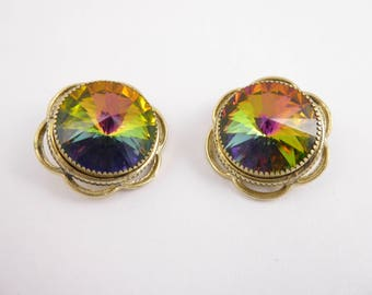 Watermelon Tourmaline  Signed Whiting Davis Gold Plated Detail Clip Earrings-Vintage Watermelon  Gold Plated  Earrings- Vintage Earrings