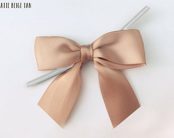 12 Latte Beige Tan Brushed Gold - Pre-made Bow Embellishments