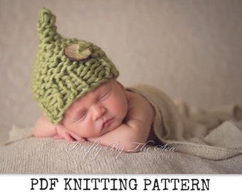 knitting pattern for chunky newborn baby elf hat PDF instant download