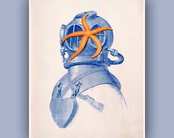 Starfish Diver Helmet Print,  Vintage images scuba diving helmet  and starfish print, steampunk print Sea Life and  Nautical art