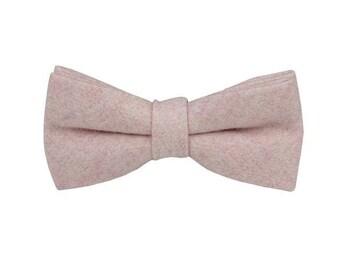 Blush Pink Wool Bowties.Blush Pink Wedding Bowtie.Groomsmen Bowtie.Mens Bowtie Blush Pink.
