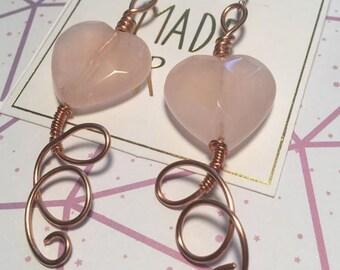 Rose Quartz Copper Wire Earrings