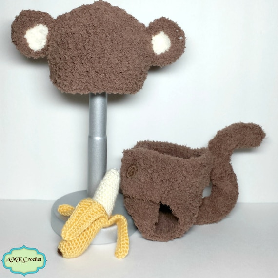 Instant Download Crochet Newborn Fuzzy Monkey Hat And Diaper Cover