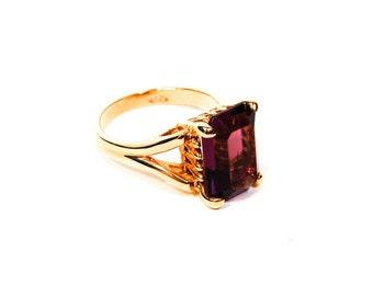Amethyst Rhinestone Statement Ring, Emerald Cut, Yellow Gold Vermeil, Sterling Silver, Size 8, Designer, Vintage Jewelry