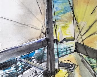 Sydney Harbour Print - Twilight Sail