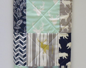 Baby Boy  Quilt, Modern Mint and Navy Blue with Gray Woodland Baby Quilt-Buck, Antler, Stag, Bear Hike, Feathers, Deer, Baby Blanket