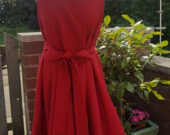 Handmade ruched Alice dress in rich red