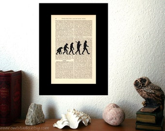 Graduation Gift | Evolution Science Art Print | Wall Decor | Rustic Home decor | Shabby Chic | Book Art | Housewarming Gift | Wall Hanging