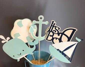 Five Piece Nautical Baby Boy Centerpiece