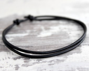 Mens Bracelet Mens Leather Bracelet Simple Leather Bracelet Urban Boho Men Bohemian Men Black Bracelet Boyfriend Gift Dad Gift Son Gift