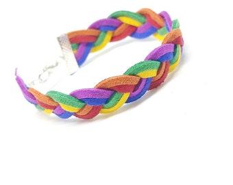 Gay pride braided bracelet, rainbow LGBT gift bracelet