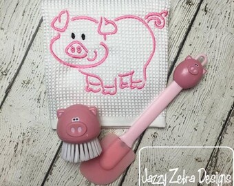 Pig Satin Stitch Outline Embroidery Design - farm Embroidery Design - pig Embroidery Design - piggy embroidery design
