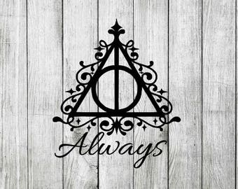 Always Deathly Hallows Elegant Harry Potter Decal Sticker Cling for Window, Car, Tablet, Laptop, Cup, Tumbler