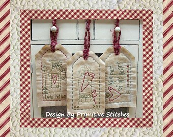Keeper of My Heart Tag Collection-Primitive Stitchery-E-PATTERN by Primitive Stitches-Instant Download