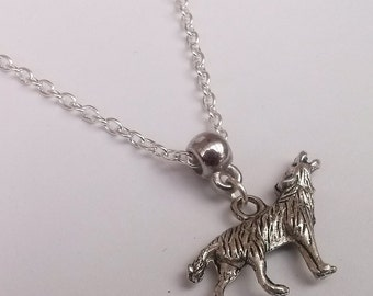 Silver Wolf Necklace , Silver Necklace , Animal Guide , Wiccan Jewelry , Pagan Jewelry , Wicca Necklace , Pagan Necklace , Handmade Jewelry