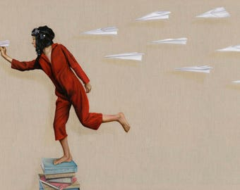 """Print of original painting """"Squadron Leader"""", boy in aviation gear with squadron of paper planes."""
