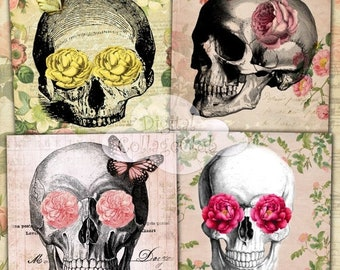 80% off Mothers Day Sale Shabby Chic Skull Digital Collage Sheet 3.8 x 3.8 Large Images for Coasters Greeting Cards Digital Background Decou