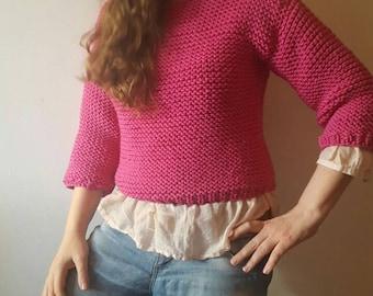 Chunky sweater; Chunky knit sweater; womens clothing; Pink sweater; Size S; Merino sweater