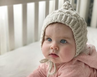 Baby Bonnet| LUCY Bonnet | PIXIE Bonnet, Toddler Bonnet, Warm Crochet Hat, Pixie Bonnet, Knit Baby Hat -Linen