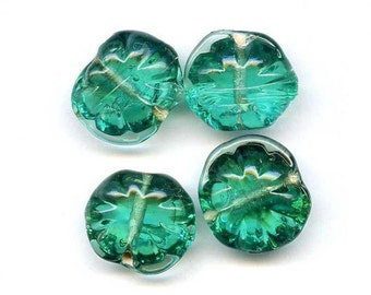 Mysterious Green Glass Lampworked Beads, Freeform, Vintage