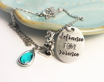 Defiance for Science ~ March ~ Nevertheless she persisted ~ Feminism ~ Feminist ~ Solidarity ~ Unity ~ Political ~ Affirmation Necklace