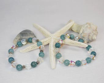 Aquamarine Bracelet, Aquamarine Aura Stacking Bracelet, March Birthstone,  Aquamarine Beaded Bracelet, Aquamarine Stretch Bracelet