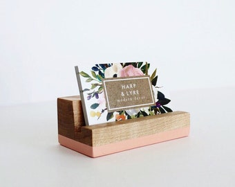 Business card holder etsy painted wood business card holder business cards wooden recipe card holder office organization reheart Gallery
