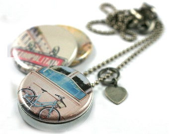 PARIS France Locket Necklace • Paris Photography Jewelry • Travel Necklace • Paris Gift • Bicycle • Eiffel Tower • 3 in 1 Magnetic Jewelry