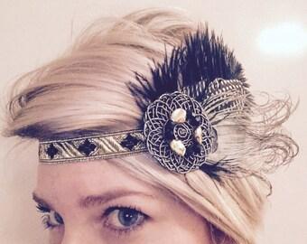 No 1. Great Gatsby, Golden flapper, roaring 20's, feather headband, headpiece, headdress,