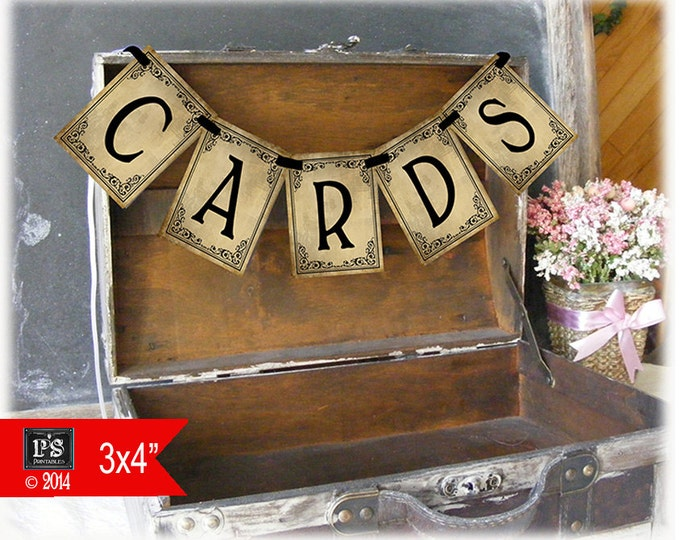 DIY Printable Black Tie Victorian Vintage Style Wedding CARDS banner for your wedding box or suitcase