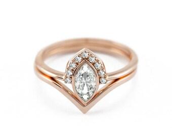 Marquise Diamond Ring Set, Diamond Engagement Ring With V Band, Wedding Ring Set, White Diamond Ring with V shaped Wedding Ring, Rose Gold
